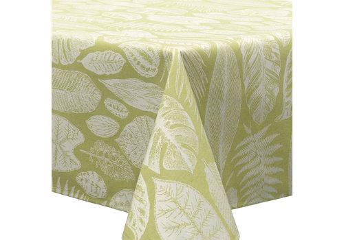 MixMamas Tafelkleed Gecoat Jacquard Tropische Bladeren  – 140 x 300 cm –  Groen