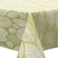 Tafelkleed Gecoat Jacquard Tropische Bladeren  – 140 x 250 cm –  Groen