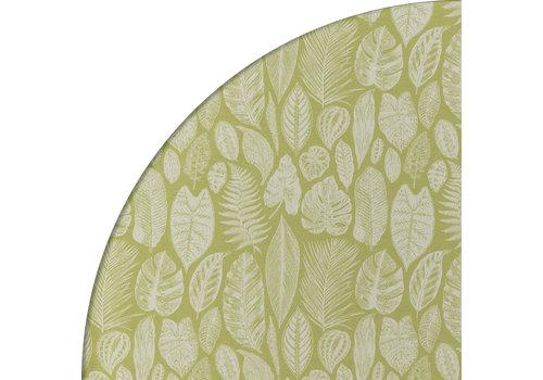 MixMamas Rond Tafelkleed Gecoat Jacquard - Ø 140 cm – Tropische Bladeren - Groen