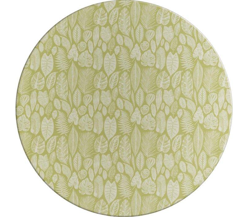 Rond Tafelkleed Gecoat Jacquard - Ø 140 cm – Tropische Bladeren - Groen