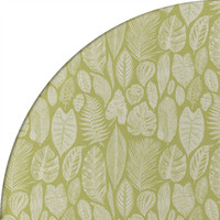 Rond Tafelkleed Gecoat Jacquard - Ø 180 cm – Tropische Bladeren - Groen