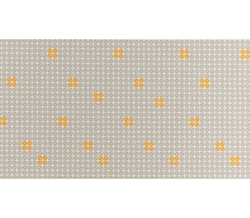Tafelzeil 140 x 200 cm - Graphic-flower-taupe-oker