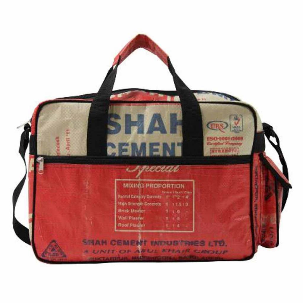 Used2b College bag upcycled cement Shah red