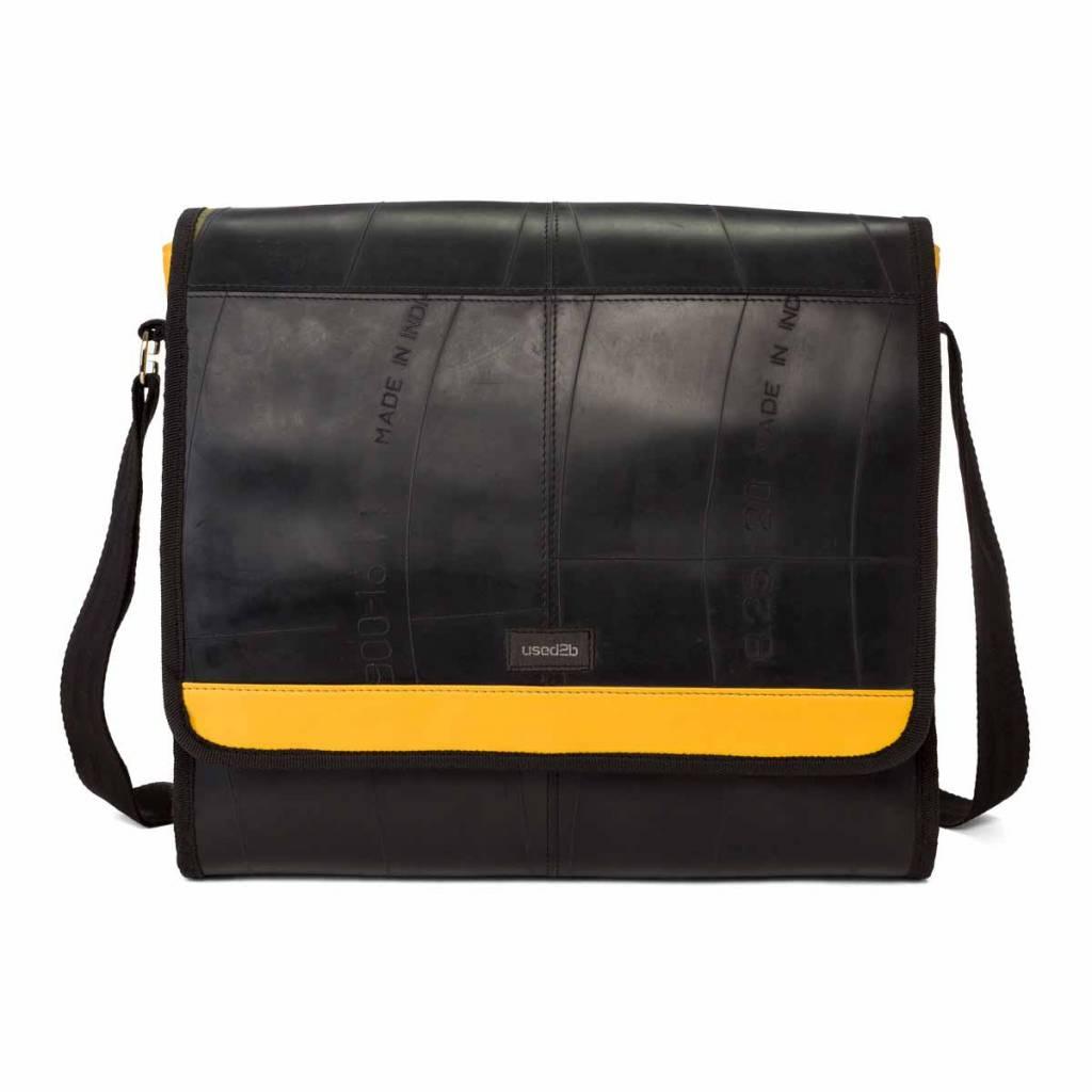 Used2b Koerierstas gemaakt van autobanden zwart-geel