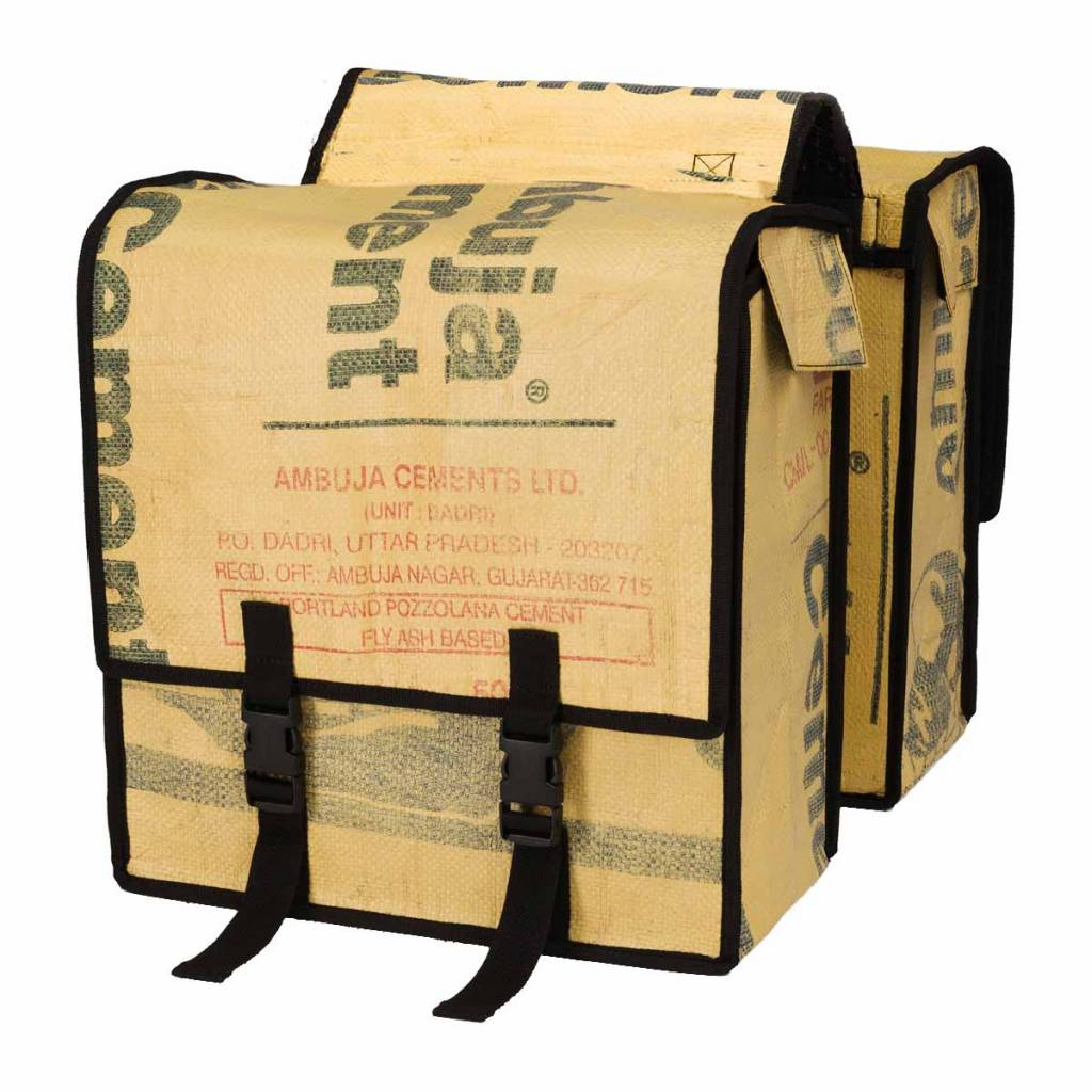 Used2b Double pannier bags Upcycled from Cement bags, plain