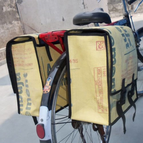 Used2b Double Bike Pannier Bags Upcycled Cement Sacks