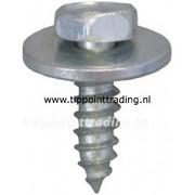 Plaatschroef zeskantkop met ring 4,8 x 16 mm blank gegalvaniseerd, (50 stuks)