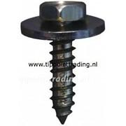Plaatschroef zeskantkop met ring 5,5 x 16 mm matzwart gegalvaniseerd, (50 stuks)