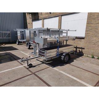gebruikte Transporter 250 open + gebruikte rolsteiger Euro 135x250 12,2m werkhoogte