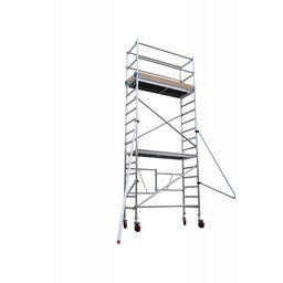 Euroscaffold Vouwsteiger 75 x 190 x 6m werkhoogte + rubber wiel met stalen spindel