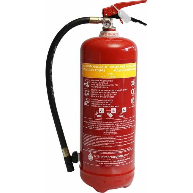 FireDiscounter Extincteur à poudre (ABC) 6 kg - Sans Benor