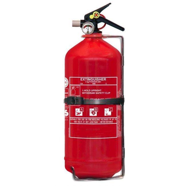 FireDiscounter Extincteur à poudre pour véhicules 3kg avec BENOR V (ABC)