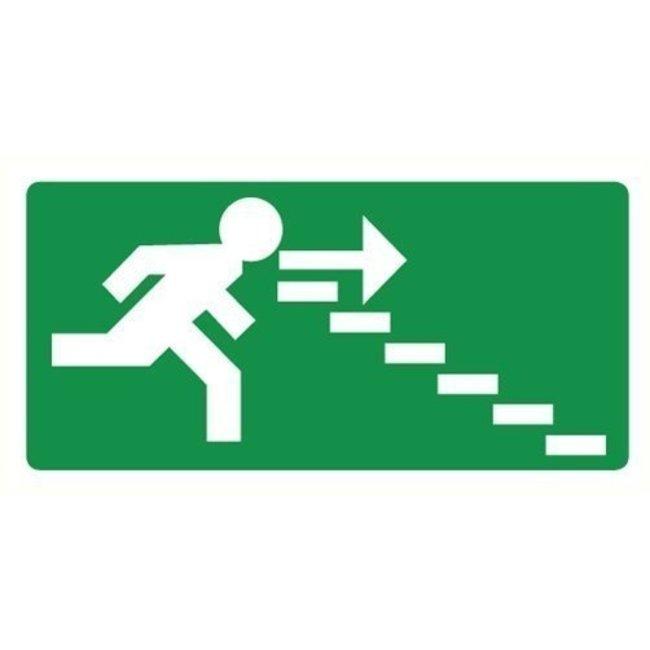 Pikt-o-Norm Pictogram nooduitgang rechts trappen