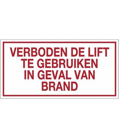 Pikt-o-Norm Pictogram verboden de lift te gebruiken in geval van brand