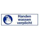 """Pictogram indication text """"handen wassen verplicht"""""""