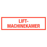 Pictogram text lift engine room dutch