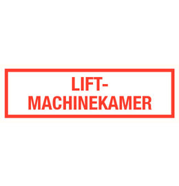 Pictogram text lift engine room dutch
