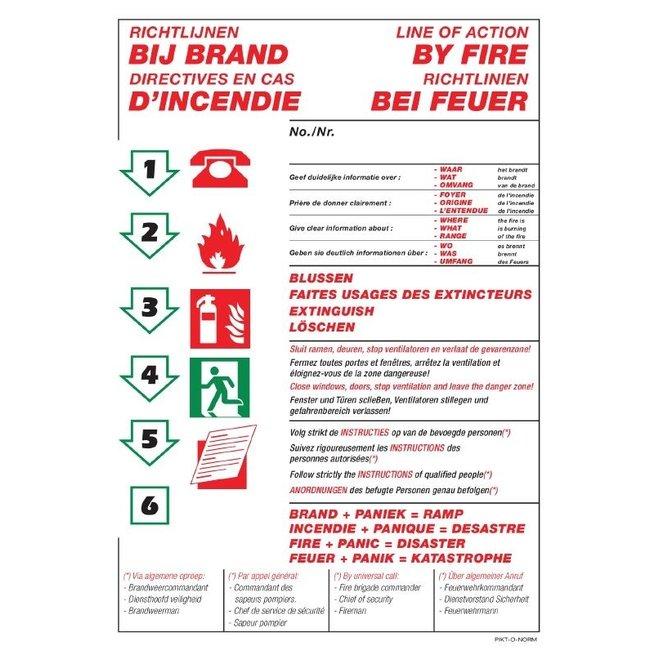 Pikt-o-Norm Pictogramme instructions en cas d'incendie 4 langues