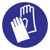 Pictogram indication gloves required