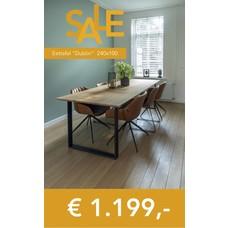 SALE 'Dublin' strakke eiken tafel met een poot naar keuze 240x100 ,- 1.199 euro