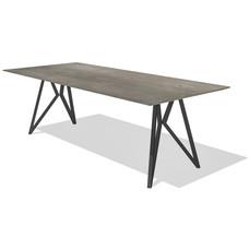 'DUBLIN' de strakke eiken tafel met een rechthoekig blad, met een facetkant, KIES HIER UW ONDERSTEL/KLEUR BLAD