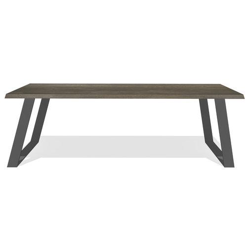 'AMSTERDAM' onze eingenzinnige tafel, kops afgeschuind op een stalen onderstel KIES HIER UW POOT/ KLEUR EIKEN
