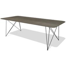 'Milaan' de retro eiken tafel met afgeronde hoeken in combinatie met een facet, KIES HIER UW ONDERSTEL/KLEUR BLAD