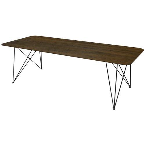 'Milaan' eiken tafel afwerkt met afgeronde hoeken met driehoekige draadpoot