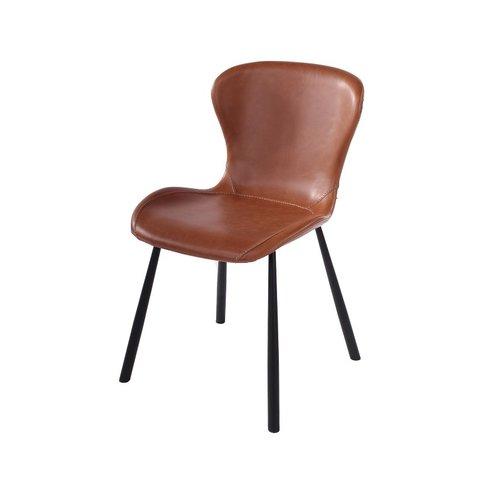 KELLY stoel, cognac textielleder