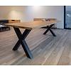 'Helsinki' rechthoekige tafel X-poot staal 10/10