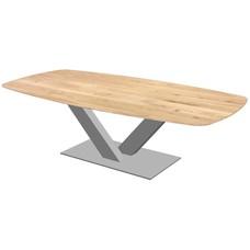 'Bari' tonvormige tafel met facetkant centrale V-poot staal