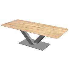 'Milaan' eiken tafel met afgeronde hoeken centrale V-poot staal