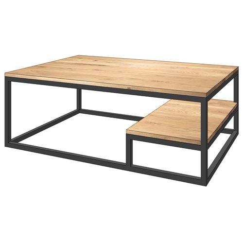 'Stockholm' industriële salontafel extra blad gesloten structuur