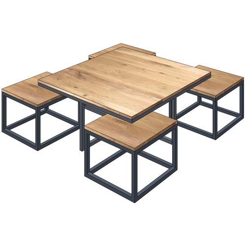 'Stockholm' industriële salontafel 5-delig