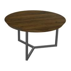 'MADRID' onze ronde eiken salontafels met een stalen onderstel KIES UW FRAME & KLEUR BLAD