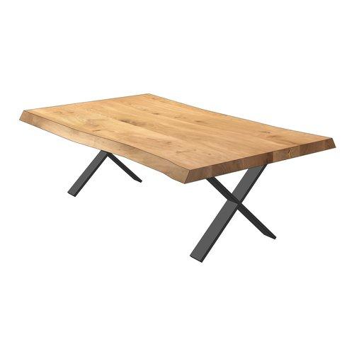 'OSLO' boomstamvormige eiken salontafels met een onderstel KIES HIER UW ONDERSTEL & KLEUR BLAD