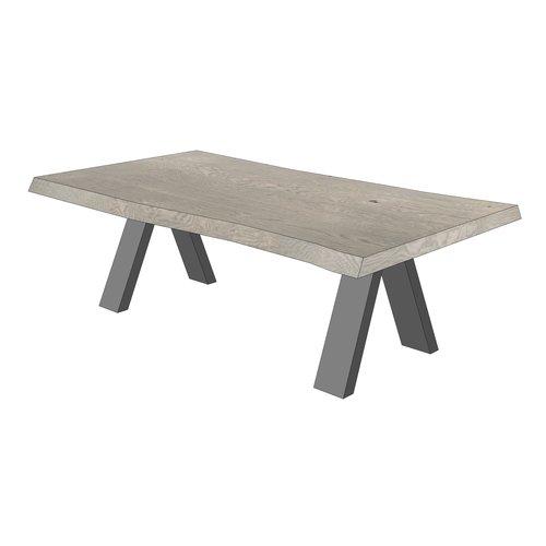 'Oslo' boomstamvormige salontafel met omgekeerd V-poot