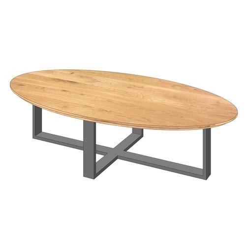 'Florence' ellipsvormige salontafel centraal onderstel