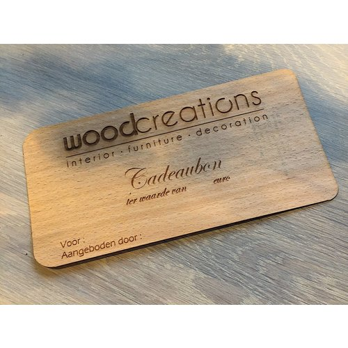 Cadeaubon uit fineer-hout