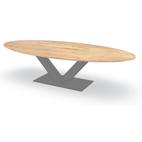 'Florence' ellipsvormige tafel centrale V-poot staal