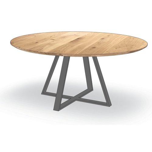 'Madrid' ronde tafel met centrale trapezium-poot