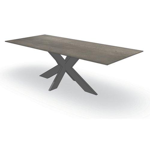 'Dublin' tafel met facetkant centrale X-poot
