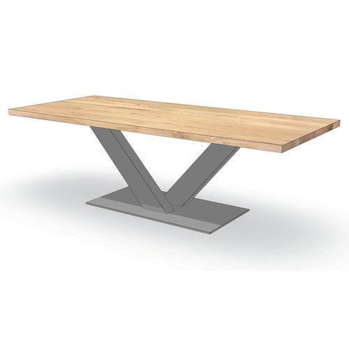 'Helsinki' rechthoekige tafel centrale V-poot staal
