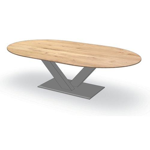 'Parijs' ovale tafel centrale V-poot staal