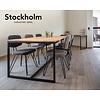 'Stockholm' industriële eiken tafel open structuur met dwarsprofiel