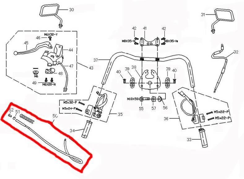 ZNEN Achterremkabel Znen/ Chinese retroscooters