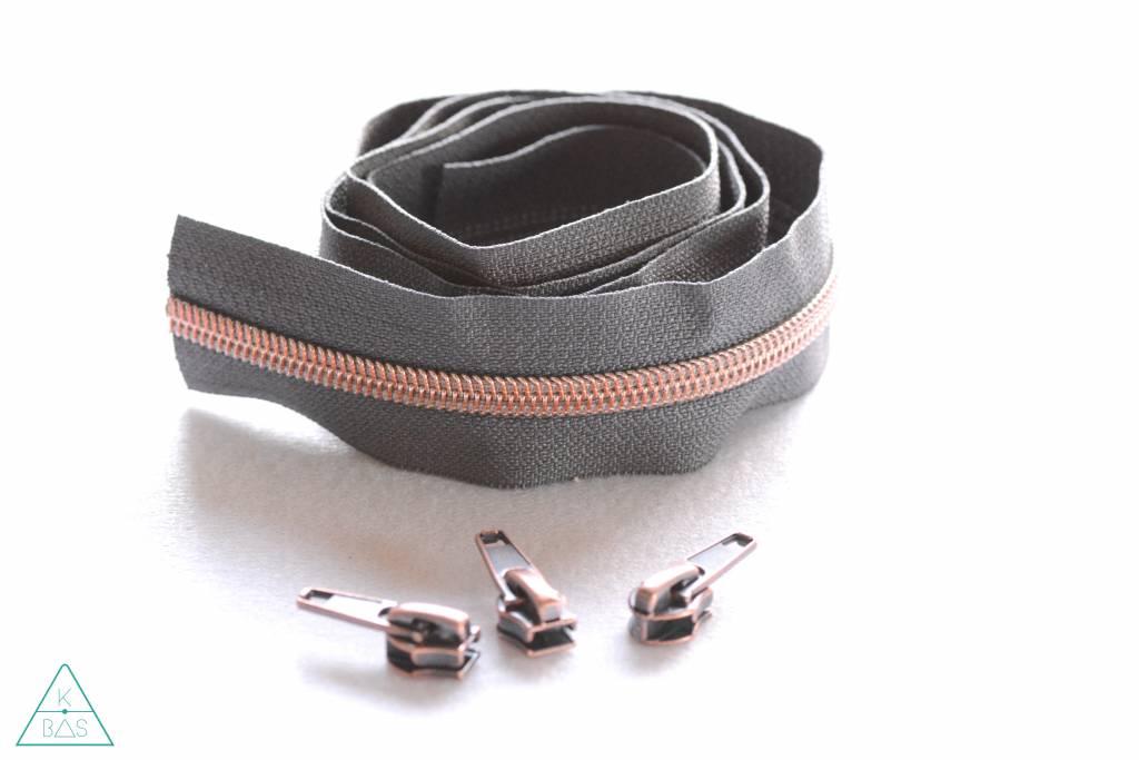Snaply Niet-deelbare spiraalrits 100cm - grijs met koper