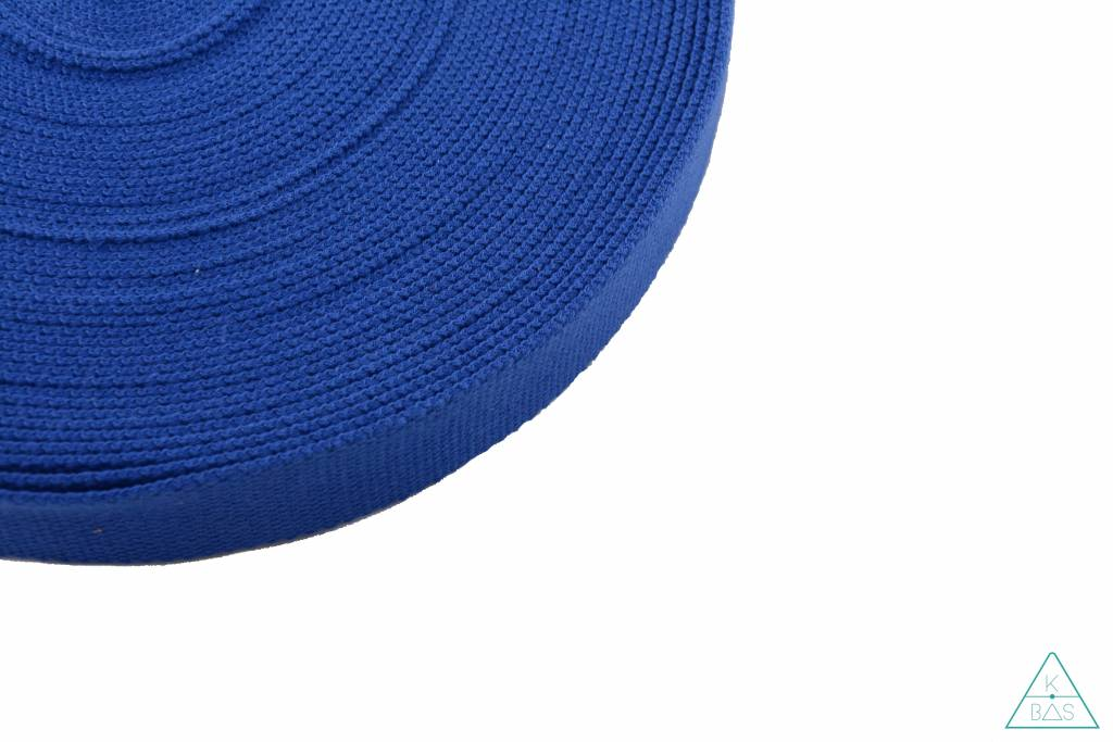 Katoenen tassenband Koningsblauw 25mm