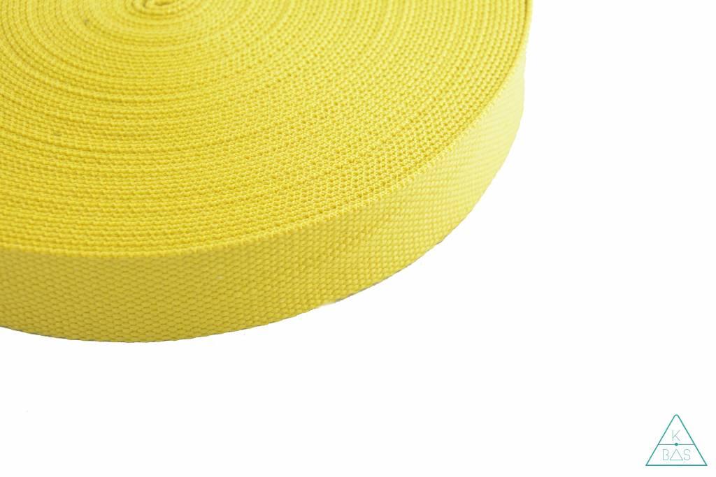 Katoenen tassenband Citroengeel 25mm