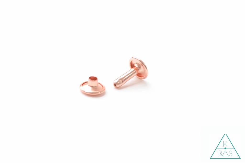 Emmaline Bags Holnieten Rosé Goud 9mm - dubbele kop (10st)  - lange pin